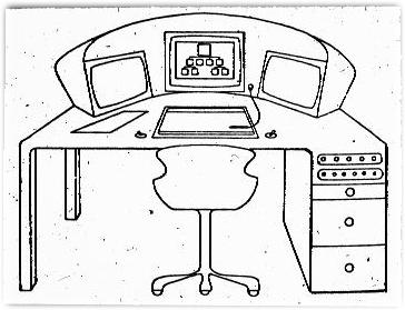 Schreibtisch gezeichnet  Wolkenkuckucksheim 2/1999